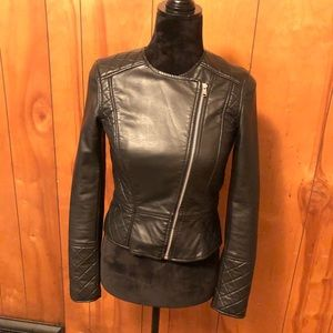 H&M faux black quilted leather moto jacket sIze 4